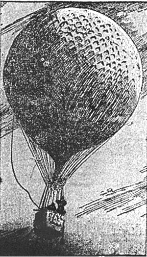 Drawing of the balloon with people aboard as the balloon is apparently taking off. This balloon picture does not show the sails nor the guide ropes.