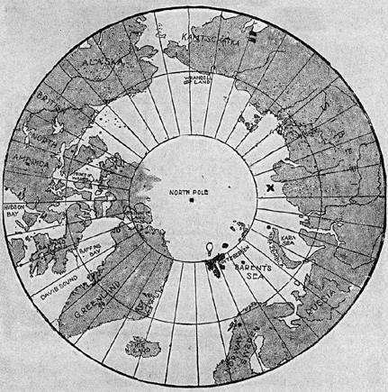 Map of the Arctic. Drawn on it was a X showing the site discussed in article. There is a balloon image near Spitzbergen.Link to larger graphic.