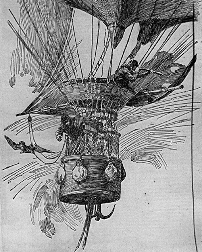 Drawing of balloon with two men working. Links to larger version with more extensive description.