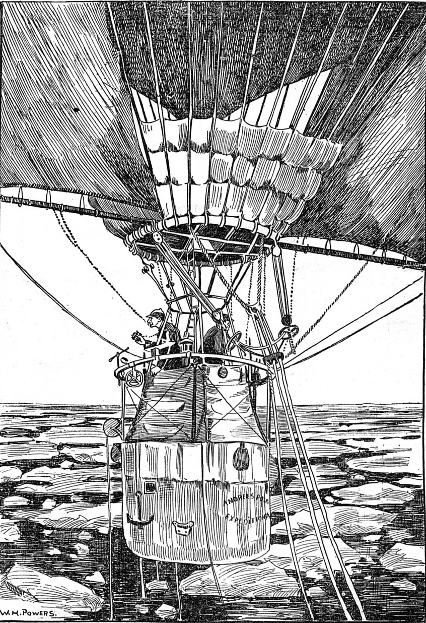 The three explorers in their balloon. Black and white etching showing each looking out one side of the balloon with ice and water below. Sails are attached to sides of the balloon.