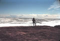 Man standing in tundra at edge of sea ice with his back to the camera and blue sky over the ice and water.